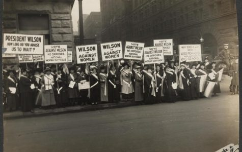 In 1916, Suffragists protest outside Woodrow Wilson's meeting in Chicago for the right for women to vote. The ratification of the 19th amendment took 72 years of non-violent protest.