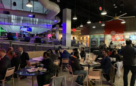 With colorful lights and a wide space, The Block has an inviting atmosphere for diners. The food court style restaurant also provides many different food options.