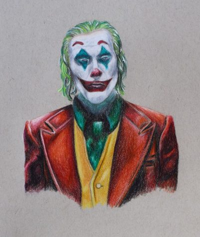 """For this Joker portrait, a blend of colors were smoothly incorporated. In contrast to her pencil sketch, Phamm explained, """"sometimes colors that seem like they are totally out of the color palette is what really brings the piece together."""" In this specific piece, the abstract additions were """"subtle blues and purples."""""""