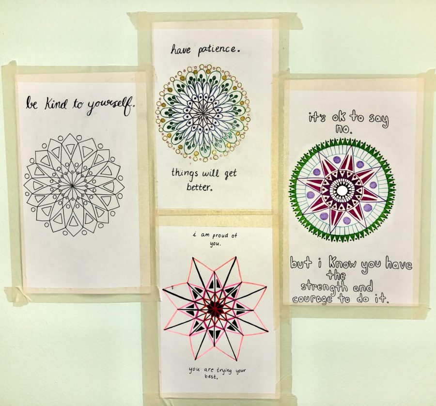 Senior Elyana Furman spent some time during quarantine drawing mandalas and writing motivational quotes on them!