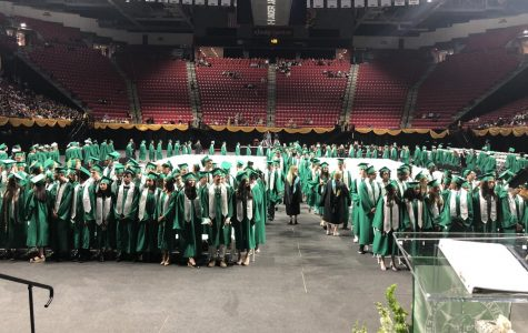 WJ's Class of 2019  prepares for the start of their graduation ceremony. The Class of 2020 did not get to have a lot of the typical senior events because of COVID-19, and probably will not get a proper graduation either.