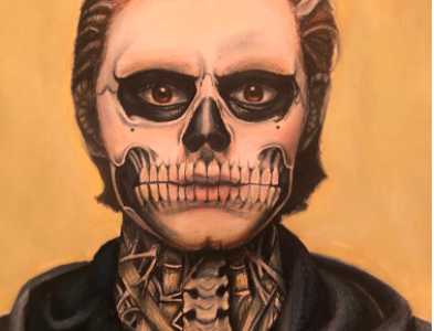 "Using only colored pencils, Zavareei created this portrait of ""Tate Langdon from American Horror Story 'Murder House.'"""