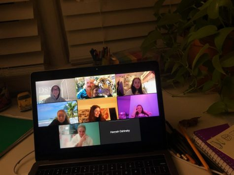 In these lonely times, friends are staying connected through zoom. Pictured is a group of WJ juniors making the most of technology in order to catch up.