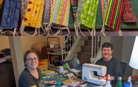 Physics instructor Amy Vary makes face masks with her mother-in-law to give to her community.  Vary made the batch pictured for her neighborhood elementary school's families.