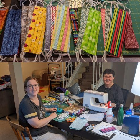 Physics instructor Amy Vary makes face masks with her mother-in-law to give to her community.  Vary made the batch pictured for her neighborhood elementary school