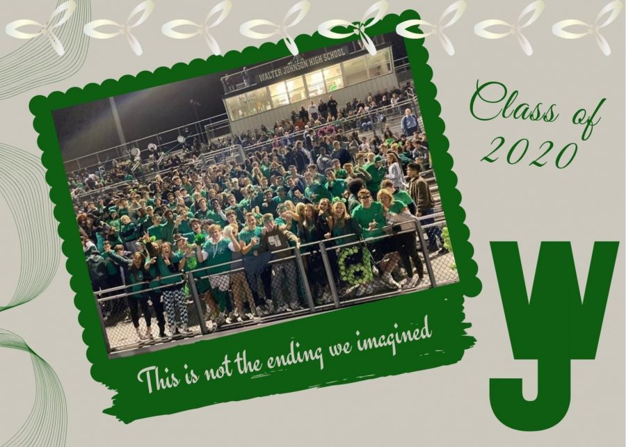 Photo illustration by: Maram Faragallah Cheering at a green-out football game, little did the class of 2020 know that their senior year would be put tinto jeopardy.