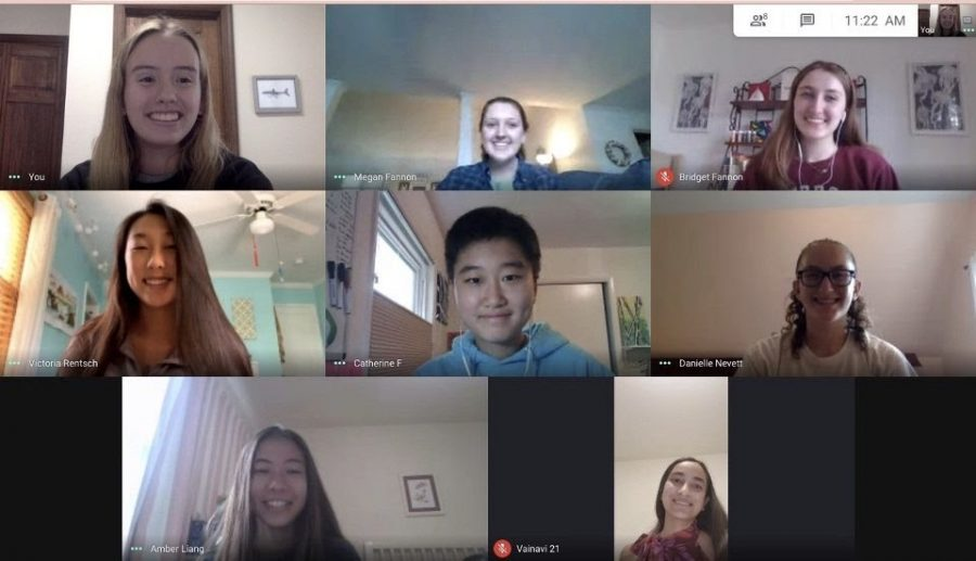 Sources of Strength 2020-2021 leadership team meets to discuss their plans for virtual campaigns during suicide awareness month.