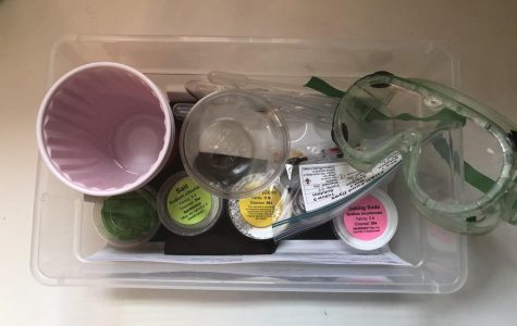 A lab kit featuring supplies like salt, baking soda, and lab goggles sits on the counter in junior Olivia Herman's house. Some teachers have prepared lab kits for students to take home so they can complete labs from a distance.