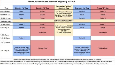 In a recent email, Principal Jennifer Baker detailed the new schedule changes coming the week of 10/19/2020.