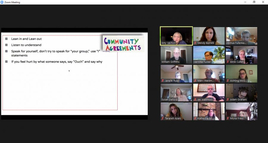 Teachers+and+students+gather+to+discuss+race+issues+at+WJ+via+Zoom.+These+meetings+called+study+circles++were+created+back+in+February+to+help+the+administration+gain+valuable+insight+on+race+issues+at+WJ.