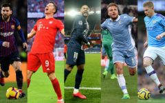 These were the best players in Europe's top five leagues last season. From left to right Leo Messi of Barcelona in Spain, Robert Lewandowski of Bayern Munich in Germany, Neymar of PSG in France, Ciro Immobile of Lazio in Italy and Kevin De Bruyne of Manchester City in England. All of these players are expected to star in their respective leasgues this season.