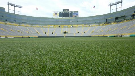 Ground view of Lambeau Field, Home of the Green Bay Packers. The emptiness of the stadium is something many fans have been forced to become accustomed to as a result of COVID-19.
