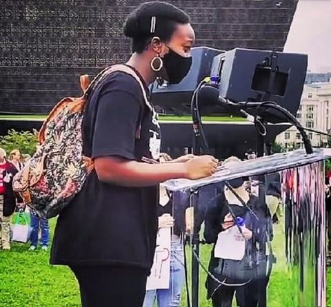 Sophomore Shiima Nantulya speaks to a crowd of BLM protesters at a march organized by Revolution Gen Z on Sept 26. Her speech addressed segregation in Montgomery County and police brutality against Black victims.