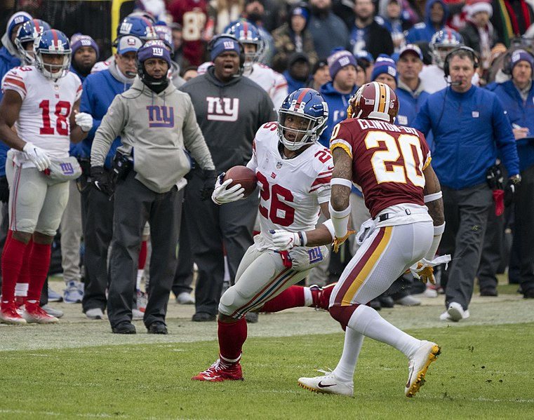 The+now+Injured+Saquon+Barkley+in+action+against+the+Washington+Football+Team.+Barkley+tore+his+ACL+against+the+Chicago+Bear+in+week+2+of+the+2020+NFL+season