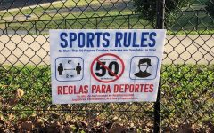 A sign near the entrance to Walter Johnson's football field displays the rules for users on Nov. 14. Coronavirus restrictions in Montgomery County have tightened recently to account for the sharp spike in confirmed cases.