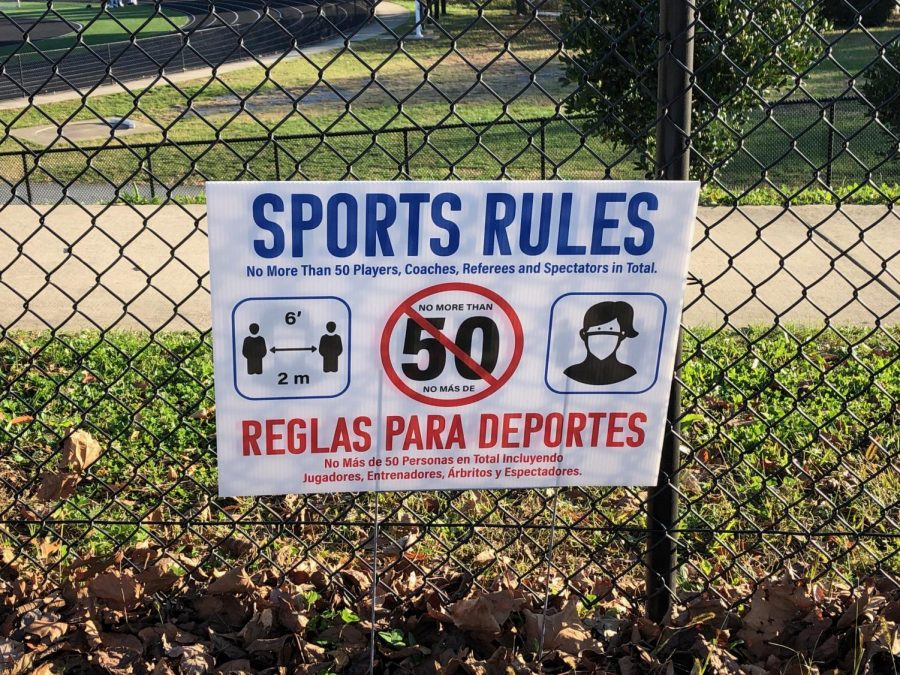 A sign near the entrance to Walter Johnsons football field displays the rules for users on Nov. 14. Coronavirus restrictions in Montgomery County have tightened recently to account for the sharp spike in confirmed cases.