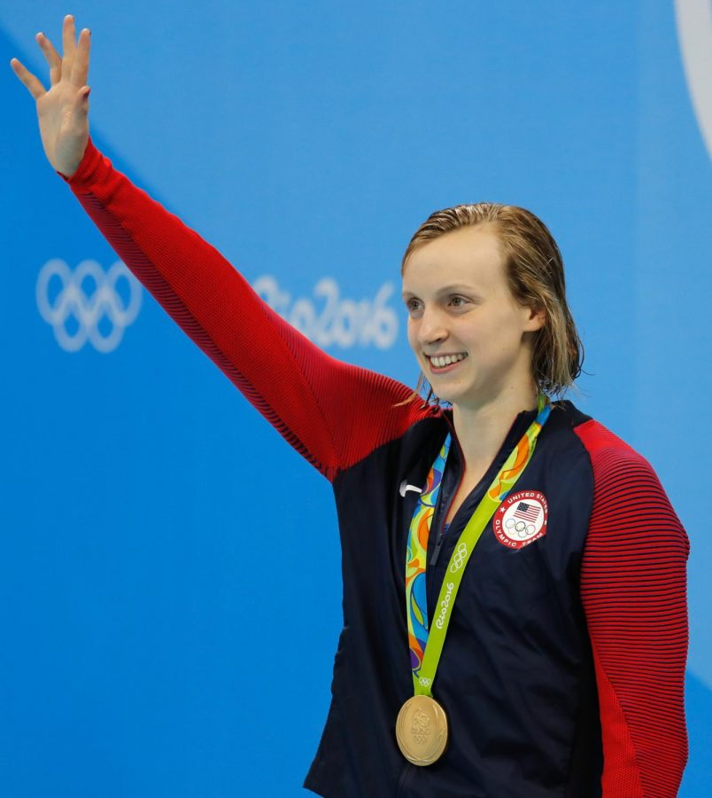 The most recognizable athlete to ever come out of Montgomery County celebrates on the podium after winning a gold medal. Katie Ledecky won four gold medals in the games.