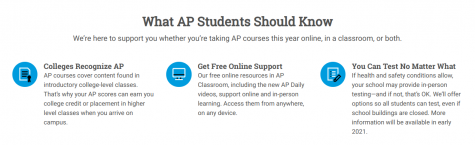 AP College Board offers free online support and resources for students taking AP classes online. This year and in past years students and teachers have used AP College Board to distribute and teach material for their classes.