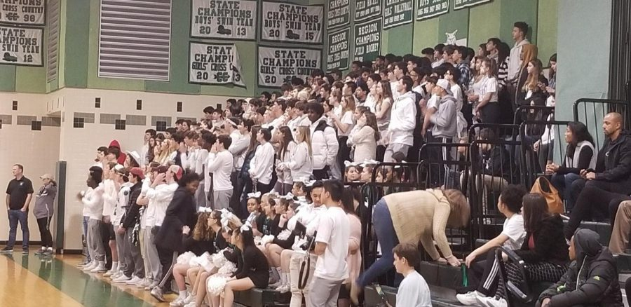Students fill the stands as boys basketball gets a big win over Wheaton. These crowds and great atmospheres created special moments for athletes.