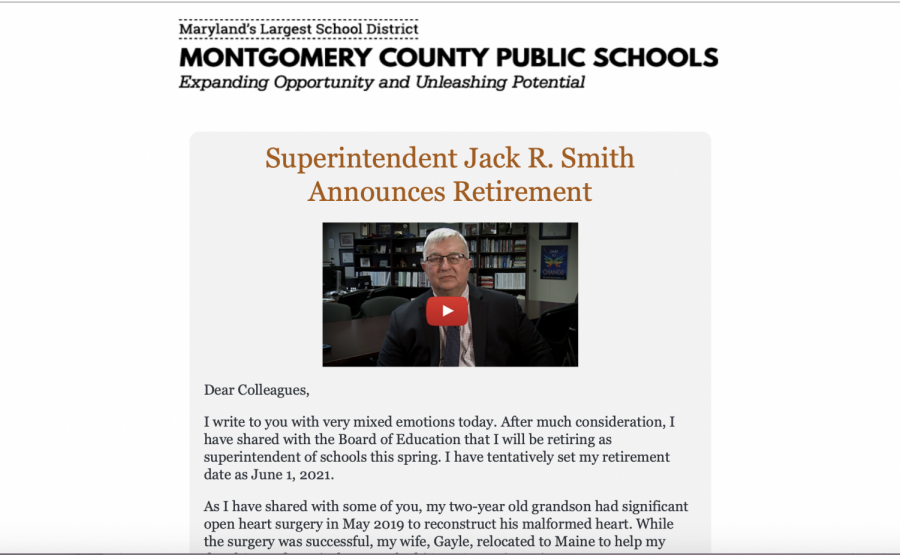 A screenshot of the message posted to the MCPS website shows the video and letter that Dr. Smith released to announce his retirement.