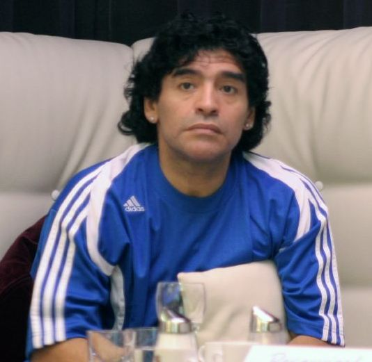 Diego Maradona watches the 2006 world cup quarter-final clash between Spain and Sweeden. He would go on to coach Argentina in the 2010 world cup in South Africa.