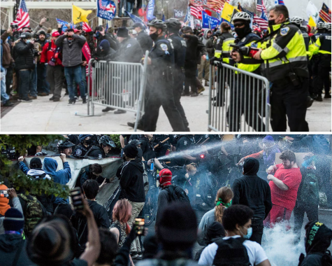The difference of responses from the police to white supremacy vs. systemic racism became evident on Jan. 6. On the top, some police appeared to help rioters get into the Capitol, while on the bottom they tear-gassed BLM protesters.