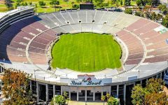 The famed Rose Bowl Stadium where No.1 Alabama defeated No. 4 Notre Dame 31-14 in the first 2021 playoff semi-final. The historical Rose Bowl stadium is nearly 100 years old and has been host to many legendary games and players.