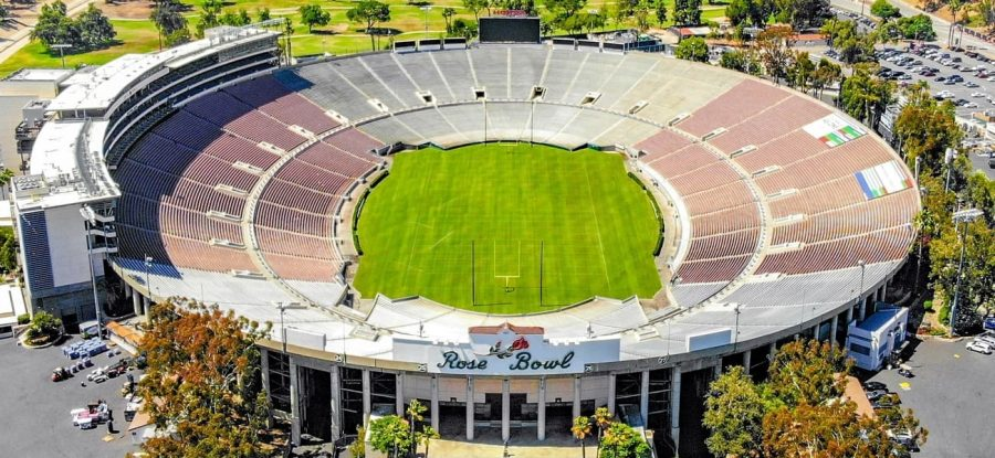 The+famed+Rose+Bowl+Stadium+where+No.1+Alabama+defeated+No.+4+Notre+Dame+31-14+in+the+first+2021+playoff+semi-final.+The+historical+Rose+Bowl+stadium+is+nearly+100+years+old+and+has+been+host+to+many+legendary+games+and+players.