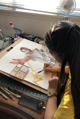 Senior Queenie Chan juggles online art classes alongside college applications and working at her parents