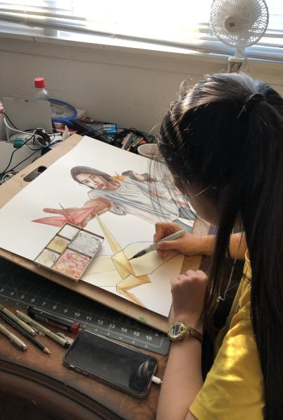 Senior Queenie Chan juggles online art classes alongside college applications and working at her parents' restaurant.