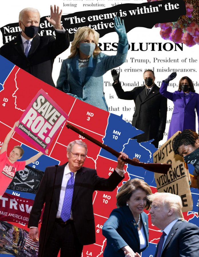 A collage illustrating the current political divisions features photos of President Joe Biden, former President Donald Trump and House Speaker Nancy Pelosi, among others. The last few years has been marked by particularly high levels of political polarization.