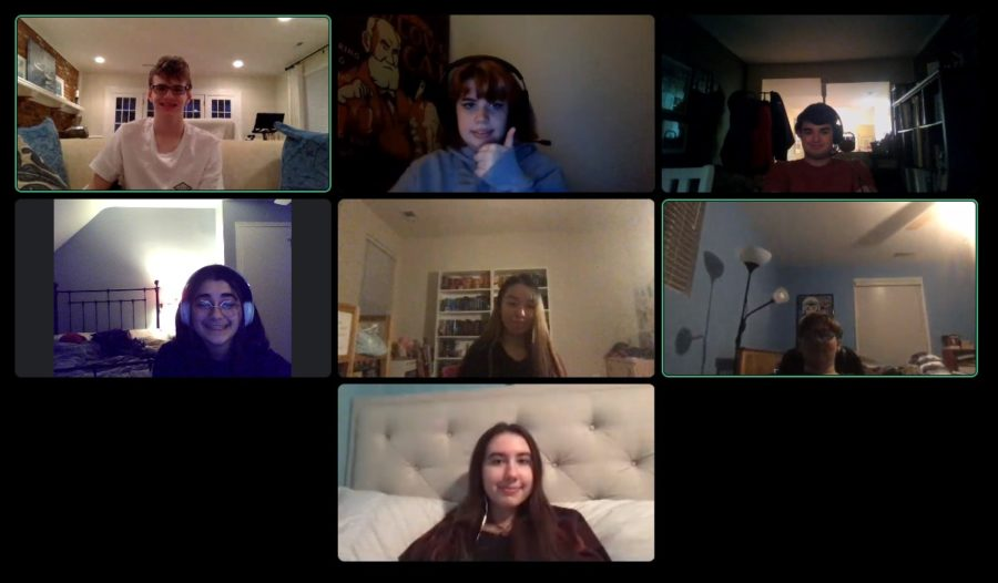WJ S*T*A*G*E's lights department hold a meeting together over Discord. This meeting went on after a program-wide meeting with all S*T*A*G*E staff members to discuss their upcoming musical documentary.