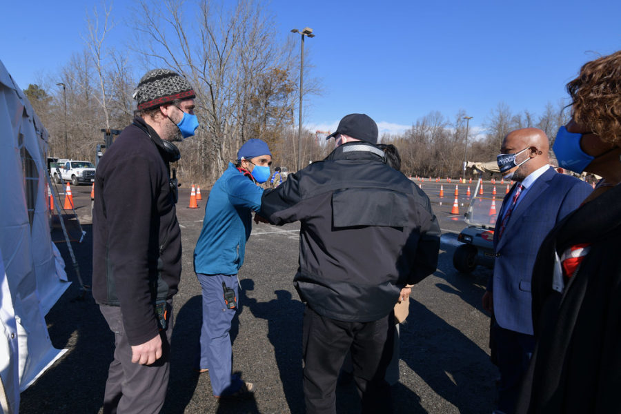 Maryland Governor Larry Hogan visits the mass COVID-19 vaccination site at Six Flags America, in Bowie on Feb. 5. Some WJ teachers have been able to get the vaccine at the site.