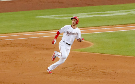 Washington Nationals shortstop Trae Turner rounds first base. The Nats are among the teams hoping to rebound from a rough 2020 season. Opening Day for the new season is April 1.