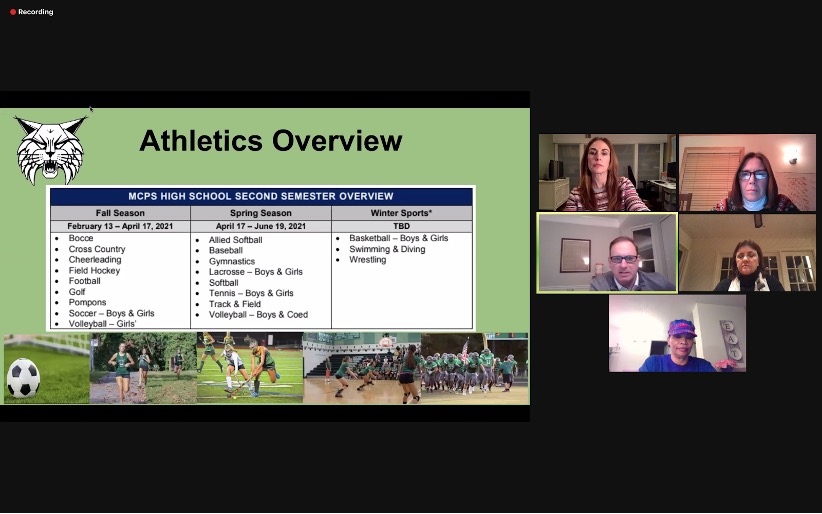 The+panel+provides+the+WJ+community+an+overview+of+athletics+during+the+coronavirus+period+and+transition+to+in-person+learning.+The+second+semester+athletic+schedule+includes+the+Fall+and+Spring+seasons+as+well+as+Winter+sports.