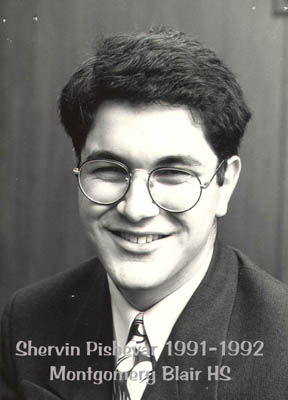 Shervin Pishevar's high school photo from when he attended Montgomery Blair High School. Pishevar was elected as SMOB in 1991 and served for one year.