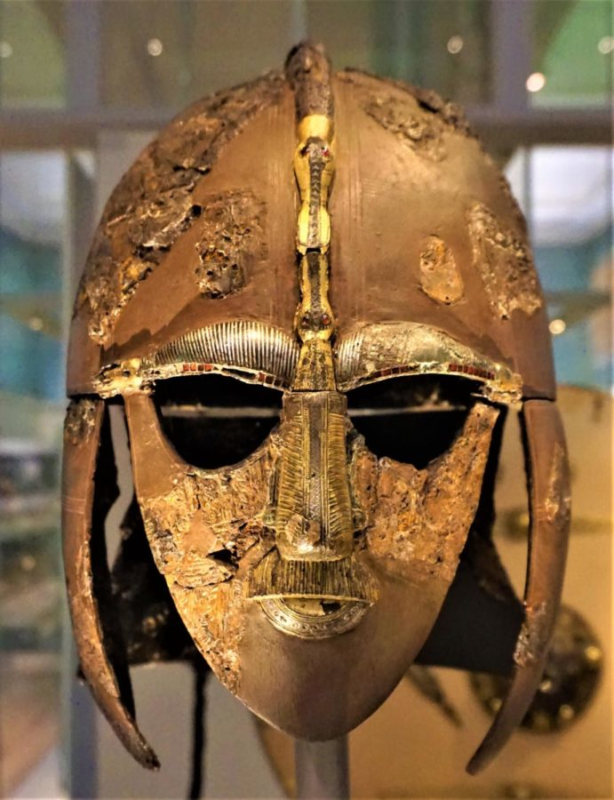 The new Netlix film The Dig follows the archeological efforts to uncover the Anglo Saxon burial mounds at Sutton Hoo. Pictured is one of the most significant discoveries of the site, an Anglo Saxon King's helmet.