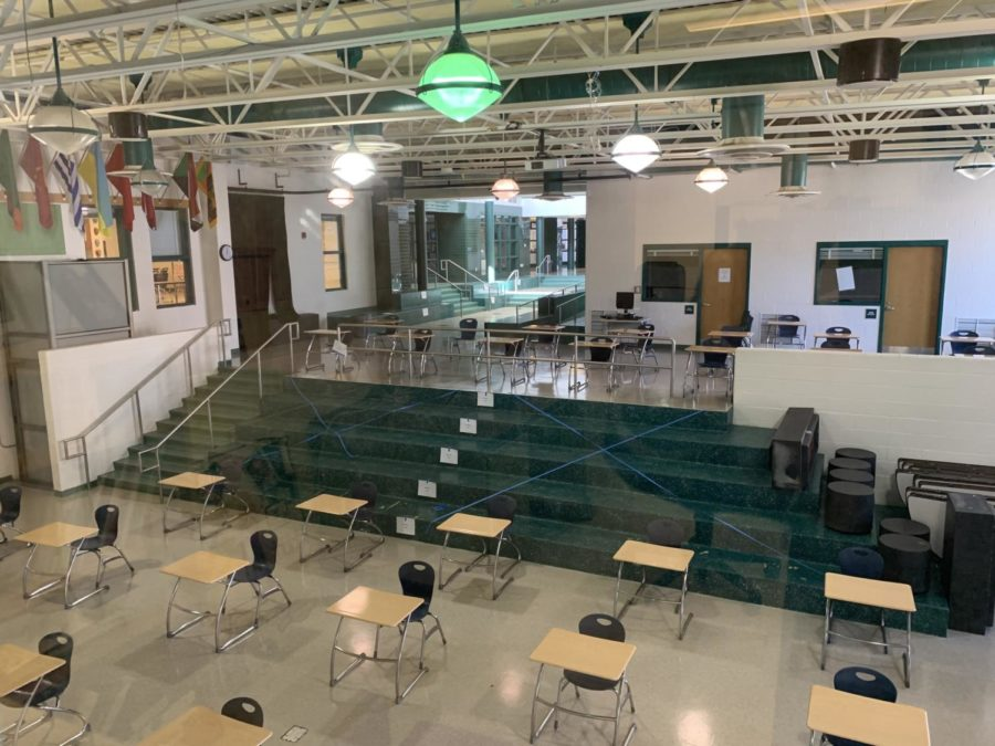 The student commons area has been rearranged and the stairs are now fenced off.