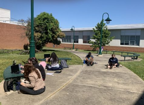 As AP tests start taking place in the building, classes need to be moved to other classrooms. With the weather warming up, The Pitch class decided to have their class outside due to an AP test taking place in their classroom.