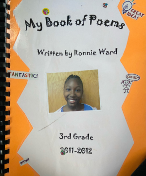 Ward's love for poetry began in the 3rd grade when she began keeping a poetry journal (pictured).