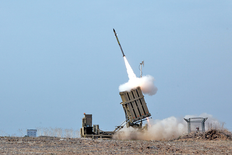 The image depicts Israel's missile defense system in action, commonly known as the Iron Dome.  The terrorist group Hamas sent thousands of rockets towards Israel civilian cities in May.  Thankfully, Iron Dome was able to intercept 90 percent of the rockets.