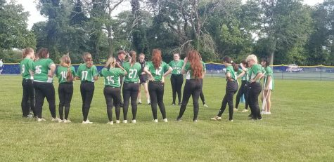 WJ softball huddles together after their loss to Catonsville in the state quarterfinals. It was a record breaking season for the team.
