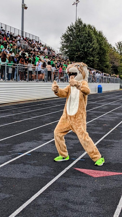 WJs+Wildcat+mascot+welcomes+students+as+they+arrive+at+the+years+first+pep+rally.+For+many+underclassmen%2C+this+was+their+first+pep+rally+ever.+Even+juniors+only+attended+a+few+during+their+freshmen%2Flast+year+in+person.