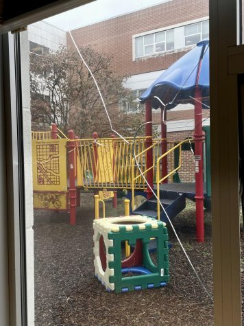 A shattered window overlooks the playground in the Child Development classroom. Problems like these have plagued different departments at WJ for years.