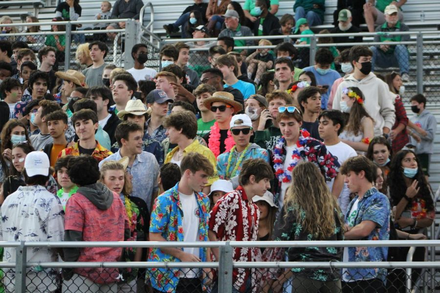 Students watch the game and cheer at the football game on Friday Sept. 24. Most students did not wear masks or social distance at the game.