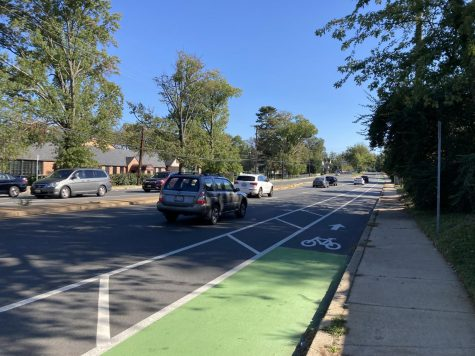 The bike lane on Old Georgetown Road provides cyclists with a dedicate lane of travel. Unfortunately, this bike lane only exists for a small stretch of the road.