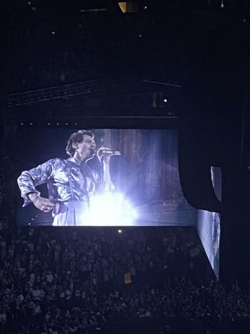 The spotlight shines on Harry as he takes the stage.The fans in the arena roared through their masks.