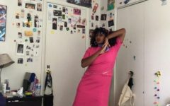 Senior Eleora Ephrem dances in her bedroom. Ephrem began posting dance covers of songs at the beginning of quarantine.
