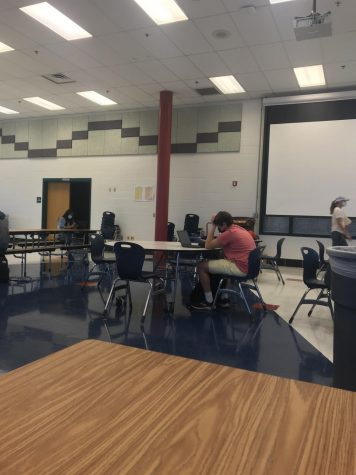 Juniors take a 100 minute MCAP test on Oct., 5. Students were sectioned off into different groups throughout the school to alleviate overcrowding.